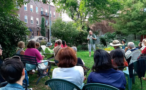 Reading in the East Fourth Street Community Garden
